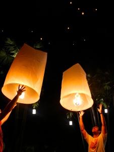 Mark and Eli sending off their lanterns.