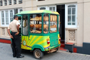 Sri Lankan version of an ice cream truck! But pastries!